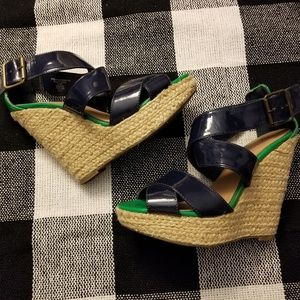Xhilaration Shoes - Navy, Green, & Tan Strappy Platform Wedge